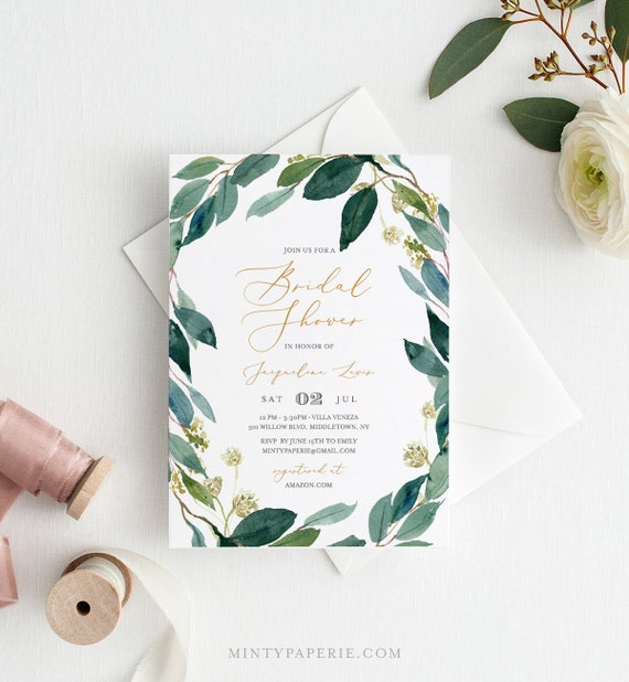 Greenery Bridal Shower Invitation Template, Instant Download, Foliage Wedding Shower, Couples Shower, 100% Editable Text, DIY  #044-135BS