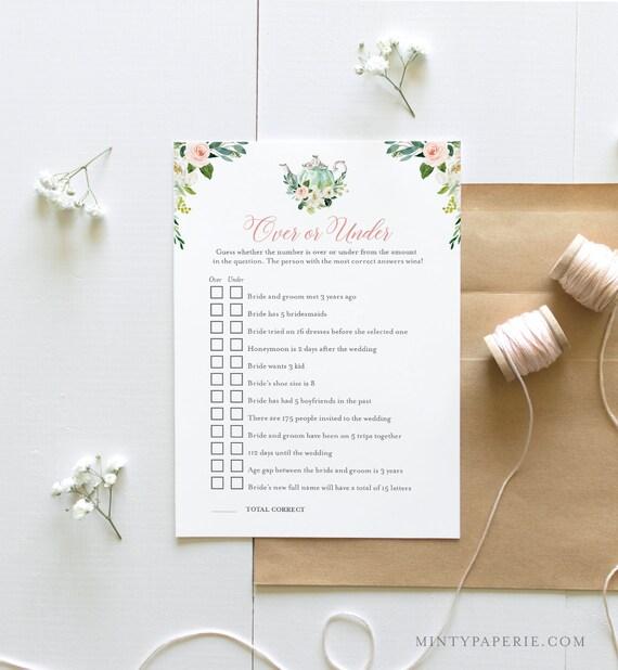 Over or Under Bridal Shower Game, Printable Tea Party Bridal Shower Game, Editable Template, Instant Download, Templett, DIY, 5x7 #085-240BG