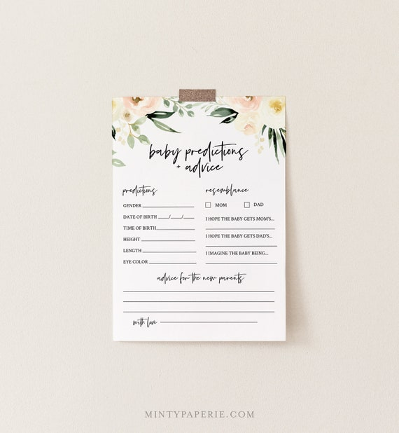 Baby Predictions and Advice Card, Printable Boho Floral Baby Shower Game, 100% Editable Text, DIY Baby Advice, INSTANT DOWNLOAD #076-150BG