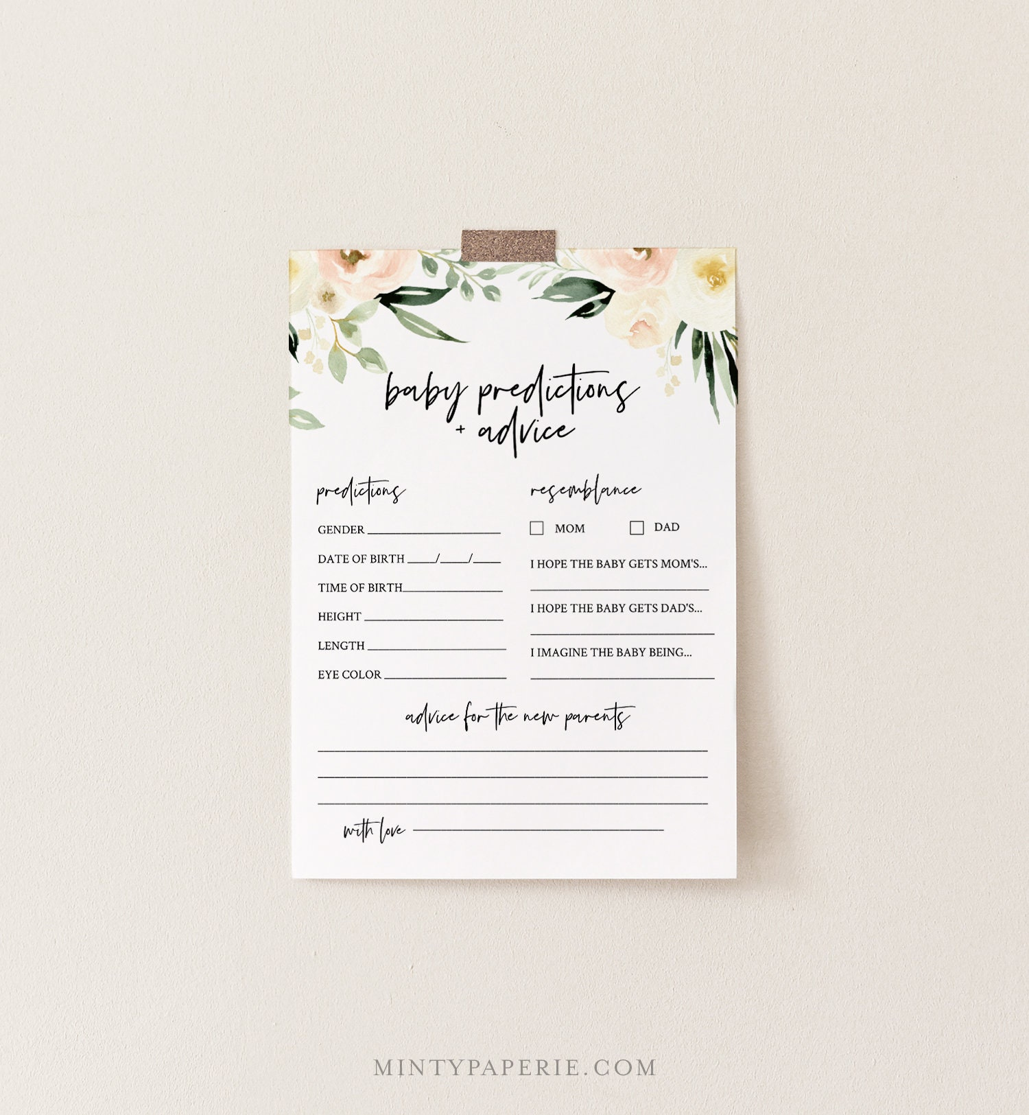 Baby Predictions And Advice Card Printable Boho Floral Baby