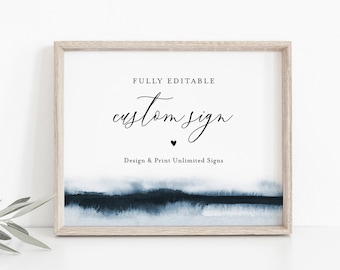 Watercolor Custom Wedding Sign Template, Editable Bridal Shower Sign, Create Any Sign Unlimited Times, INSTANT DOWNLOAD, Templett 093A-148CS
