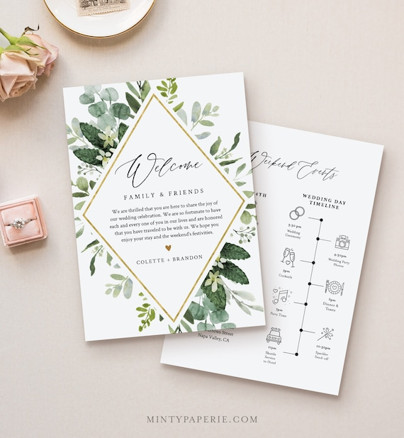 Welcome Letter & Timeline Template, Wedding Order of Events, Welcome Bag Note and Itinerary, INSTANT DOWNLOAD, 100% Editable Text #082-122WB