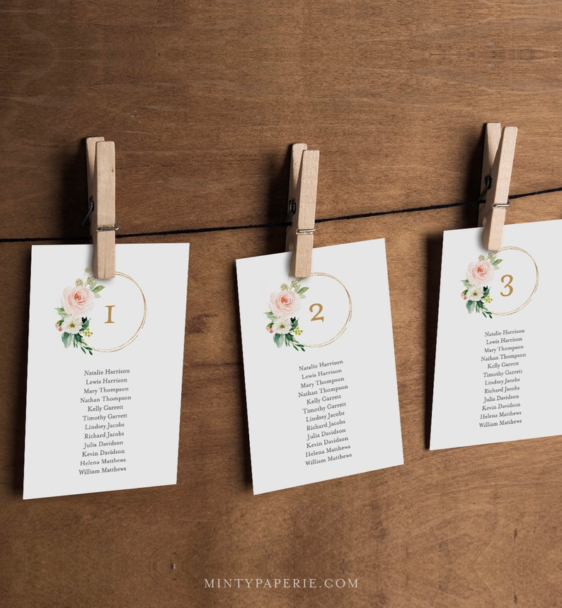 Table Seating Cards 100/% Editable Text #043-110SP Seating Chart Printable INSTANT DOWNLOAD Boho Floral Wedding Seating Plan Template
