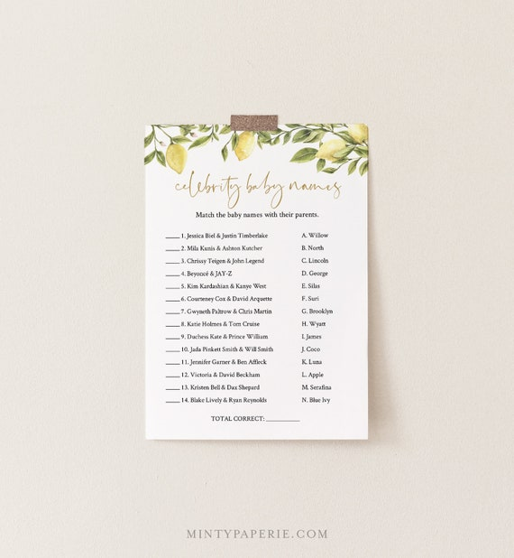 Celebrity Baby Name Game, Printable Baby Shower Game, Summer Citrus Lemon Greenery, Editable Template, Instant Download Templett 089-106BASG