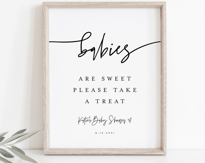 Baby Shower Favor Sign, Babies are Sweet, Take a Treat, Minimalist Baby Shower, 100% Editable Template, Instant Download, Templett  0009-20S
