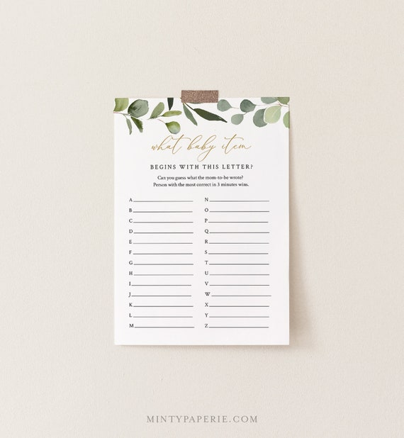 A to Z Baby Shower Game, What Baby Item Game, Greenery Baby Shower Template, 100% Editable Text, Instant Download, Templett #056-114BASG