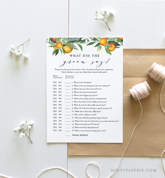 What Did the Groom Say, Bridal Shower Game, Printable Summer Citrus Orange Bridal Game, Editable, Instant Download, Templett #084-226BG