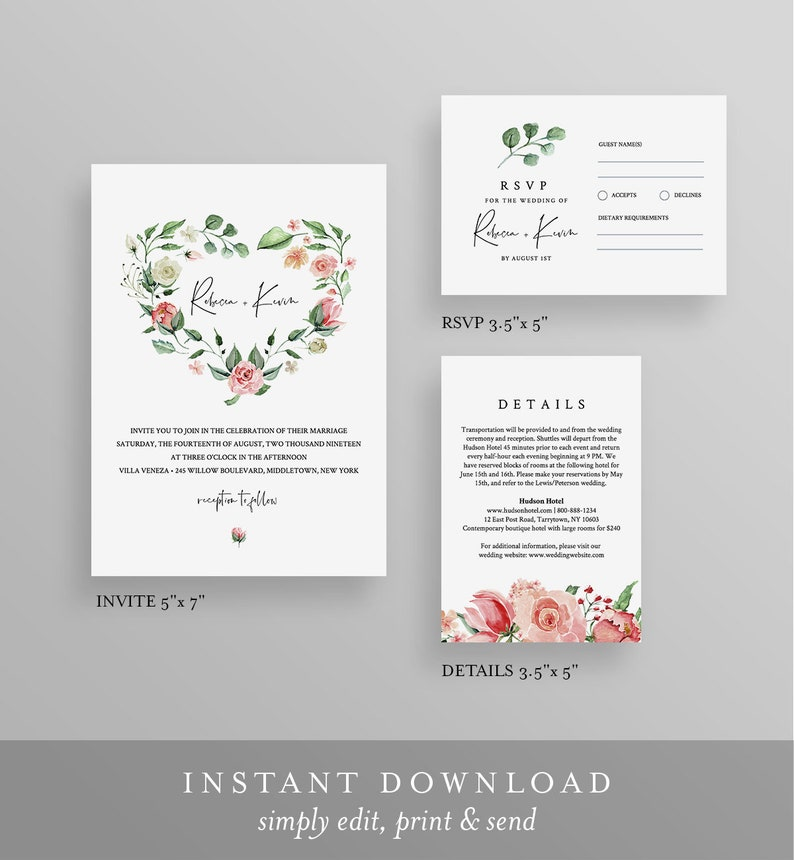 INSTANT DOWNLOAD Templett #058A Boho Wedding Wedding Invitation Set Template Watercolor Floral Greenery Heart Wreath 100/% Editable Text