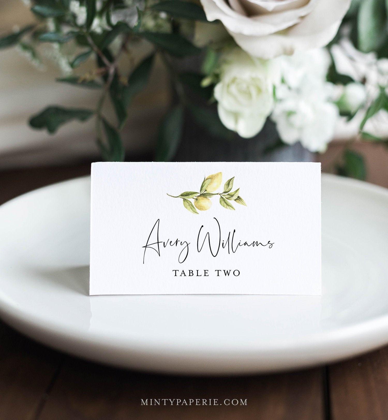 Lemon Place Card Template Printable Citrus Summer Wedding Escort Card Minimalist Name Card Editable Text Instant Download 089 146pc