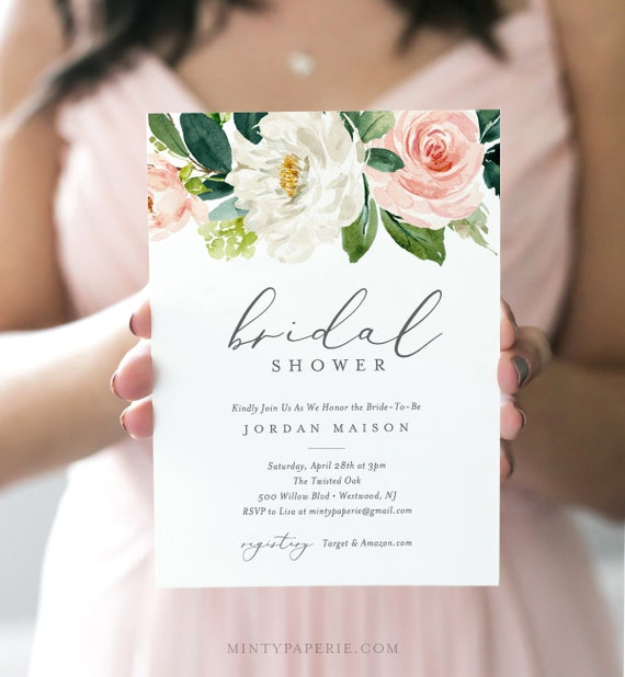 Floral Bridal Shower Invitation Template, INSTANT DOWNLOAD, Printable Bridal Shower Invite, 100% Editable Text, Blush, Pink  #043-133BS