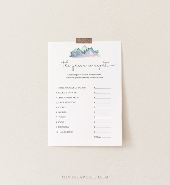 The Price Is Right Baby Shower Game Template, Winter Mountain Pine, 100% Editable Text, Instant Download, Printable, Templett #063-129BASG