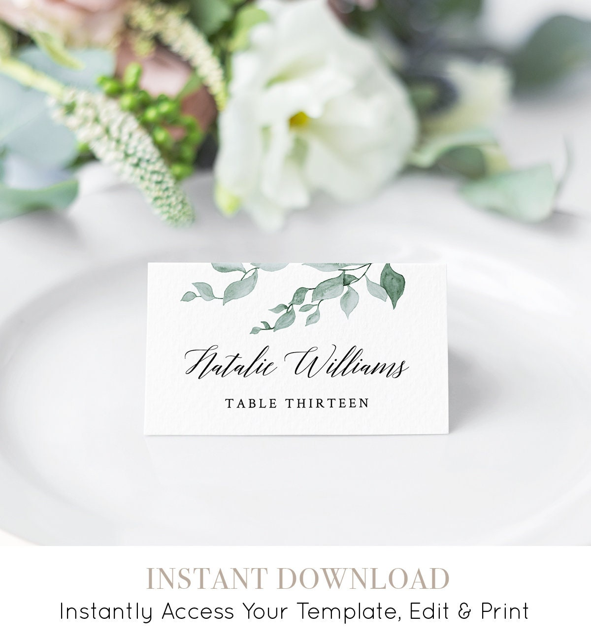 photograph regarding Printable Wedding Place Cards known as Printable Marriage ceremony Location Card, Escort Card Template, Standing Card, Watercolor Greenery Seating Card, Immediate Obtain, Entirely Editable #019-105Laptop or computer