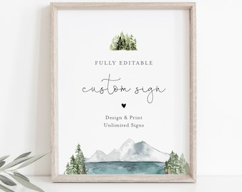 Lake Custom Sign Template, Mountain Pine Wedding or Bridal Shower Table Sign, Create Any Sign, INSTANT DOWNLOAD, Templett #017A-150CS