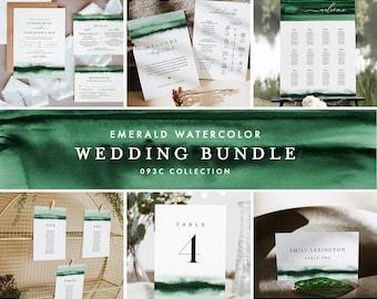 Emerald Wedding Bundle, Watercolor Wedding Essential Templates, Invitation Suite, Editable Text, Instant Download, Templett #093C-BUNDLE