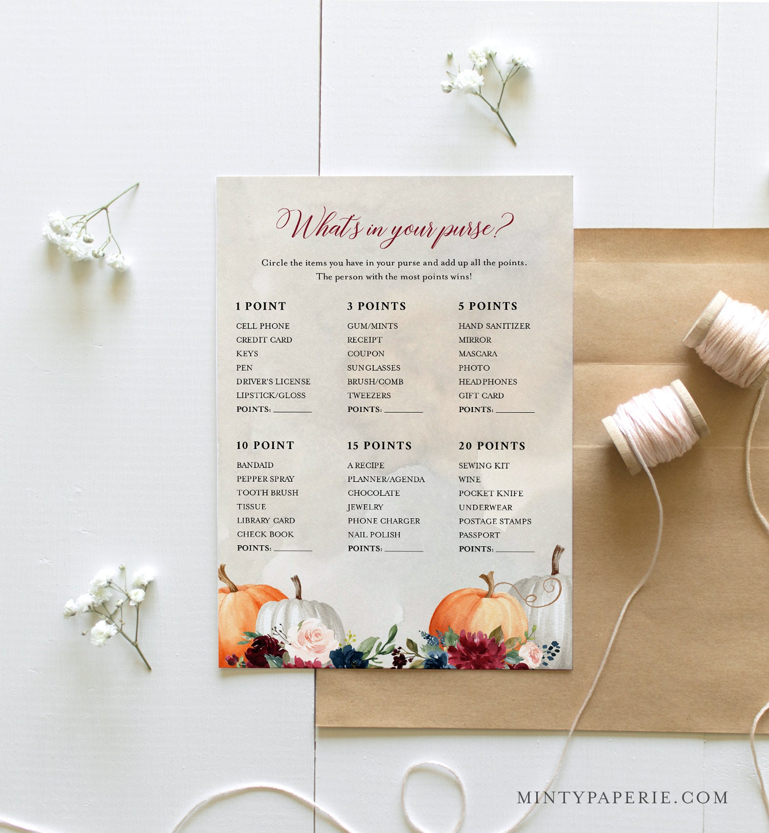 What S In Your Purse Bridal Shower Fall Pumpkin Bridal Shower Game Editable Template Instant Download Templett 5x7 072a 333bg