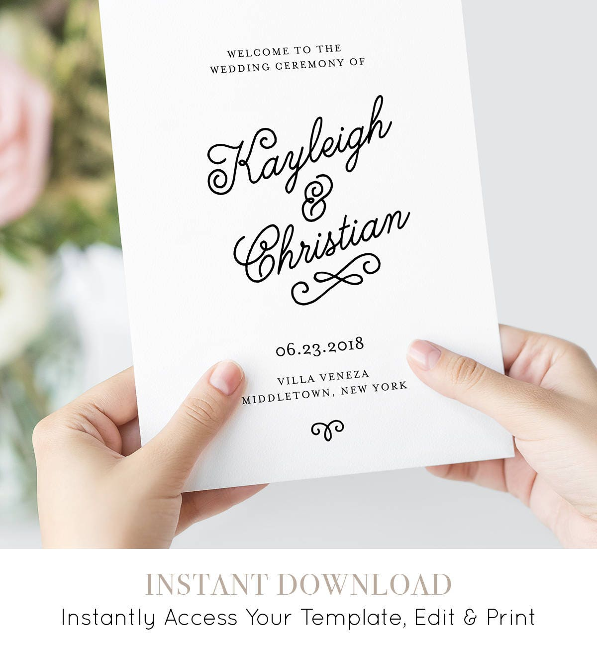 wedding program template printable order of service romantic
