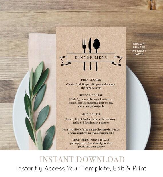Printable Menu Card, INSTANT DOWNLOAD, Wedding Dinner Menu Template, DiY Menu Card, Rustic Kraft Wedding, Editable Template, Digital #107WM