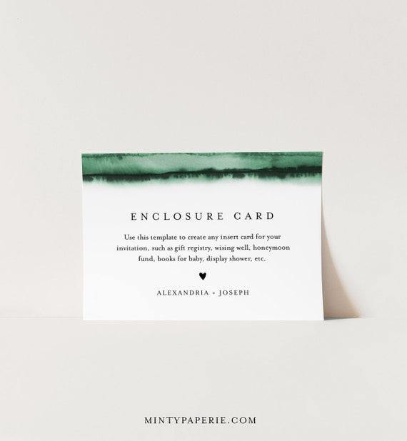 Emerald Green Insert card, Wedding Invitation Enclosure, Baby Shower Insert, Editable Details & Info, Instant Download, Templett #093C-160EC