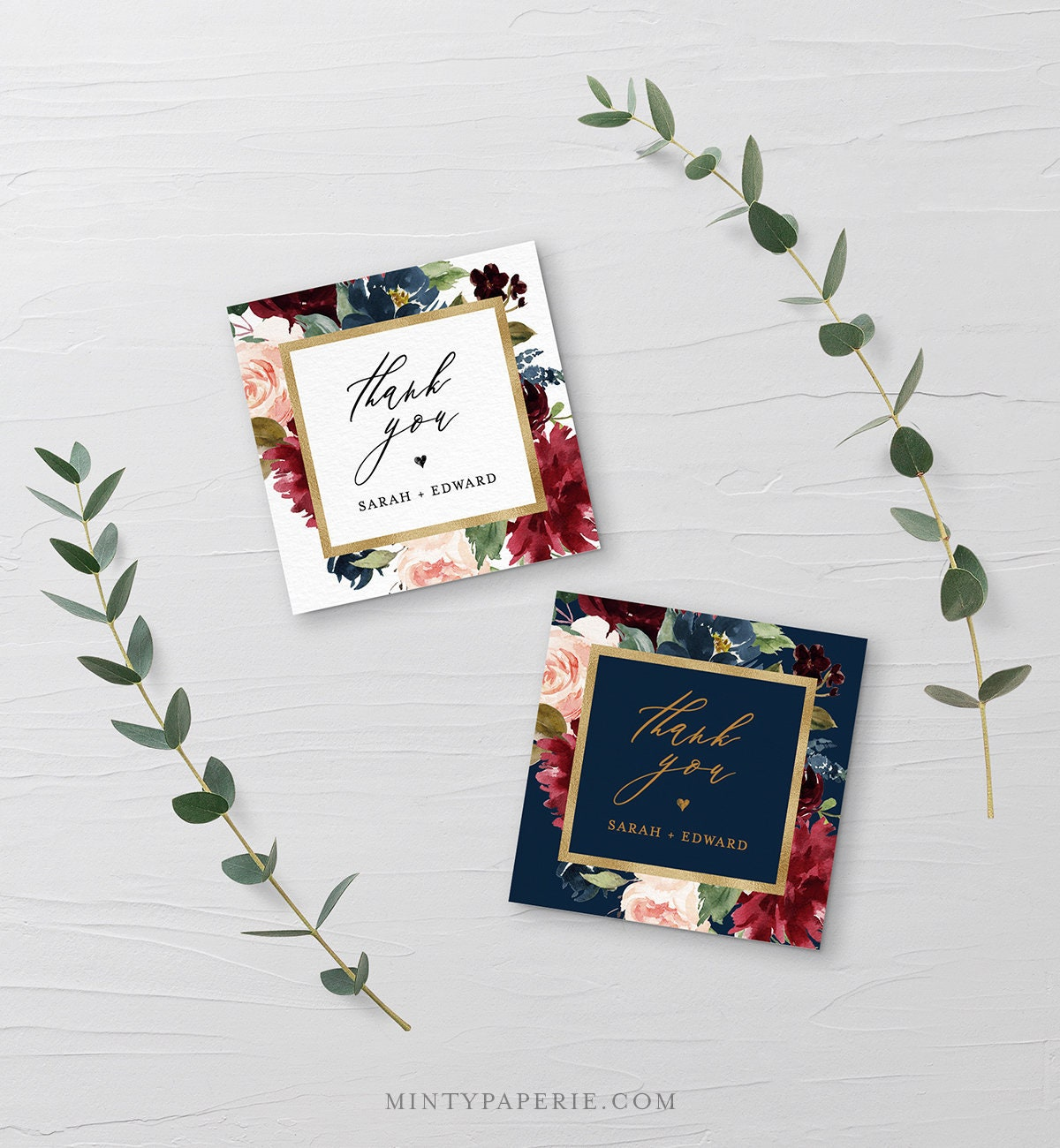favor tag template printable wedding or bridal shower thank you tag label merlot boho floral instant download editable text 062 111ft