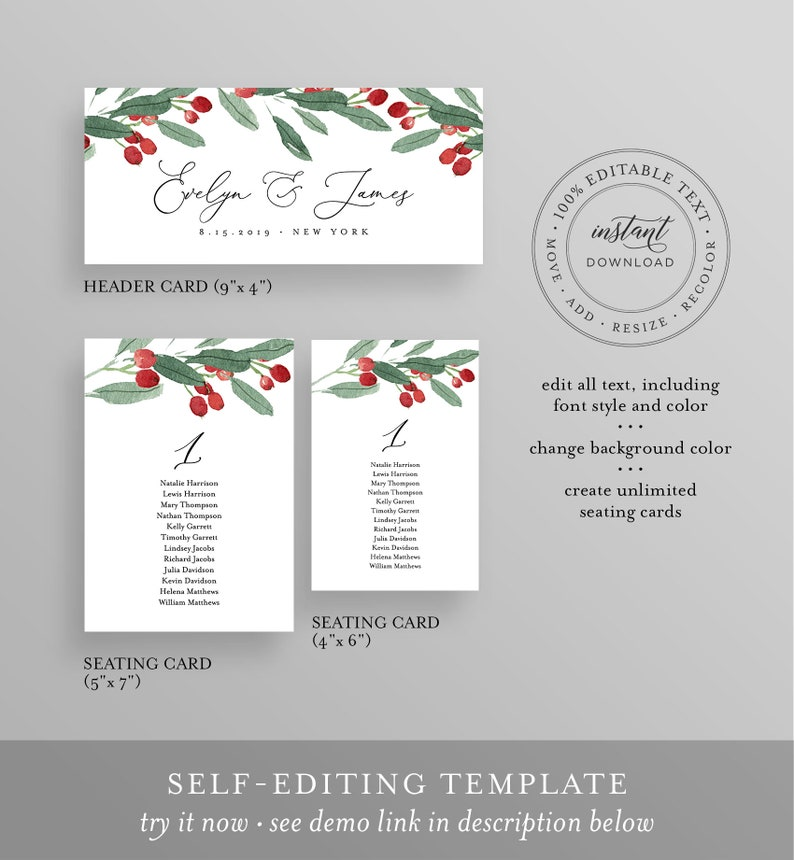 Christmas Holly Seating Cards Winter Wedding Seating Chart Template Printable Instant Download Templett #071-115SP 100/% Editable Text