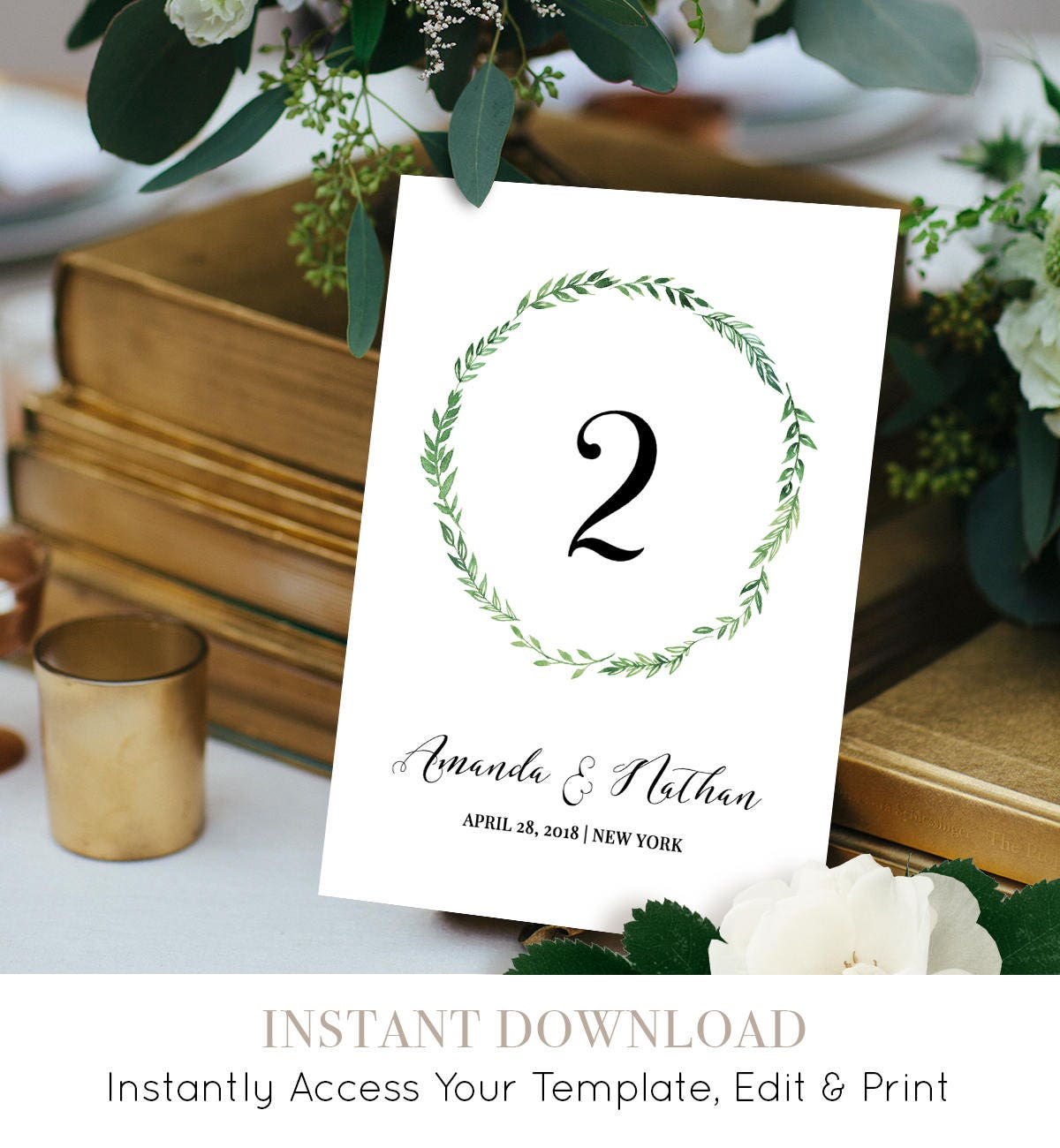 Printable Table Number Card Reception Table Seating Template Diy