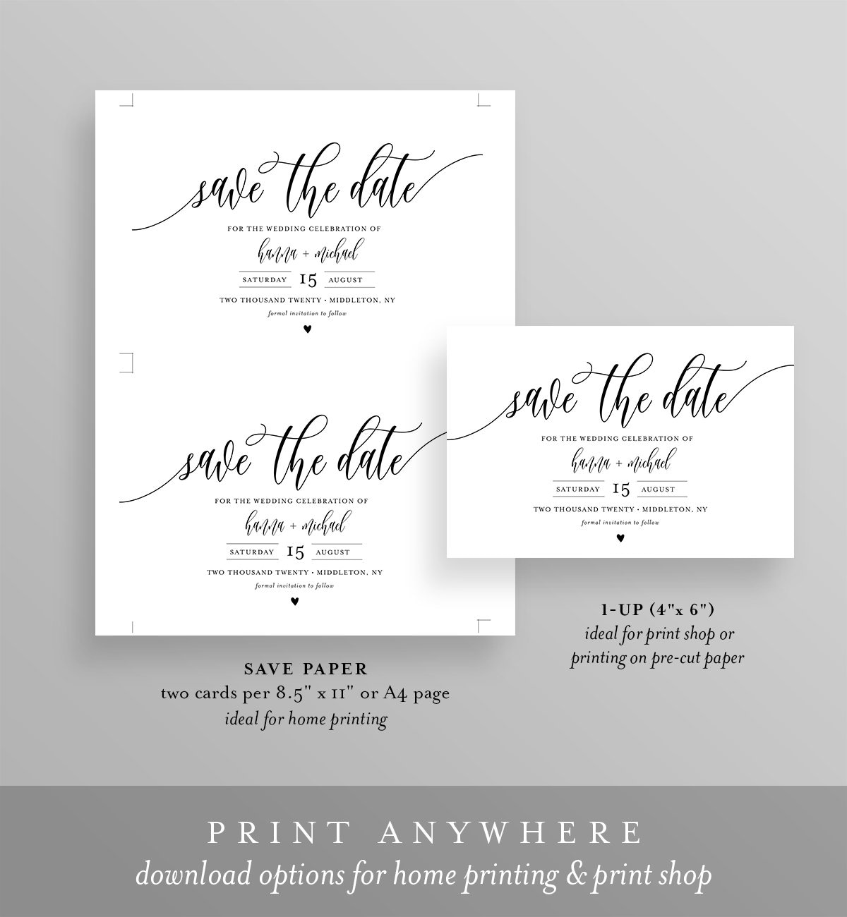 PDF Printable Simple White Handwritten NW004 5x7 Affordable Red Save The Date INSTANT DOWNLOAD Editable Template Calligraphy