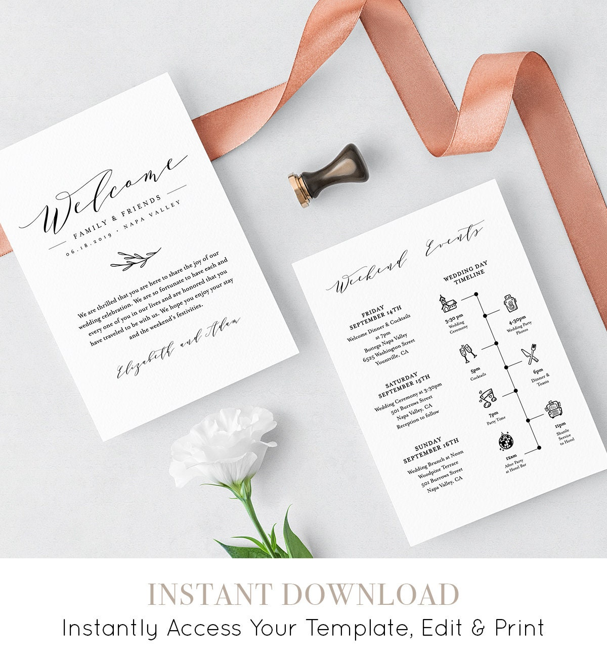 wedding itinerary welcome letter template printable welcome bag note order of events agenda icon timeline 100 editable 037 110wb