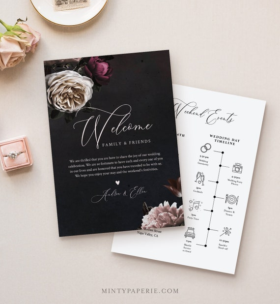 Welcome Letter & Timeline Template, Vintage Moody Florals, Wedding Bag, Order of Events, INSTANT DOWNLOAD, 100% Editable Text #009-133WB