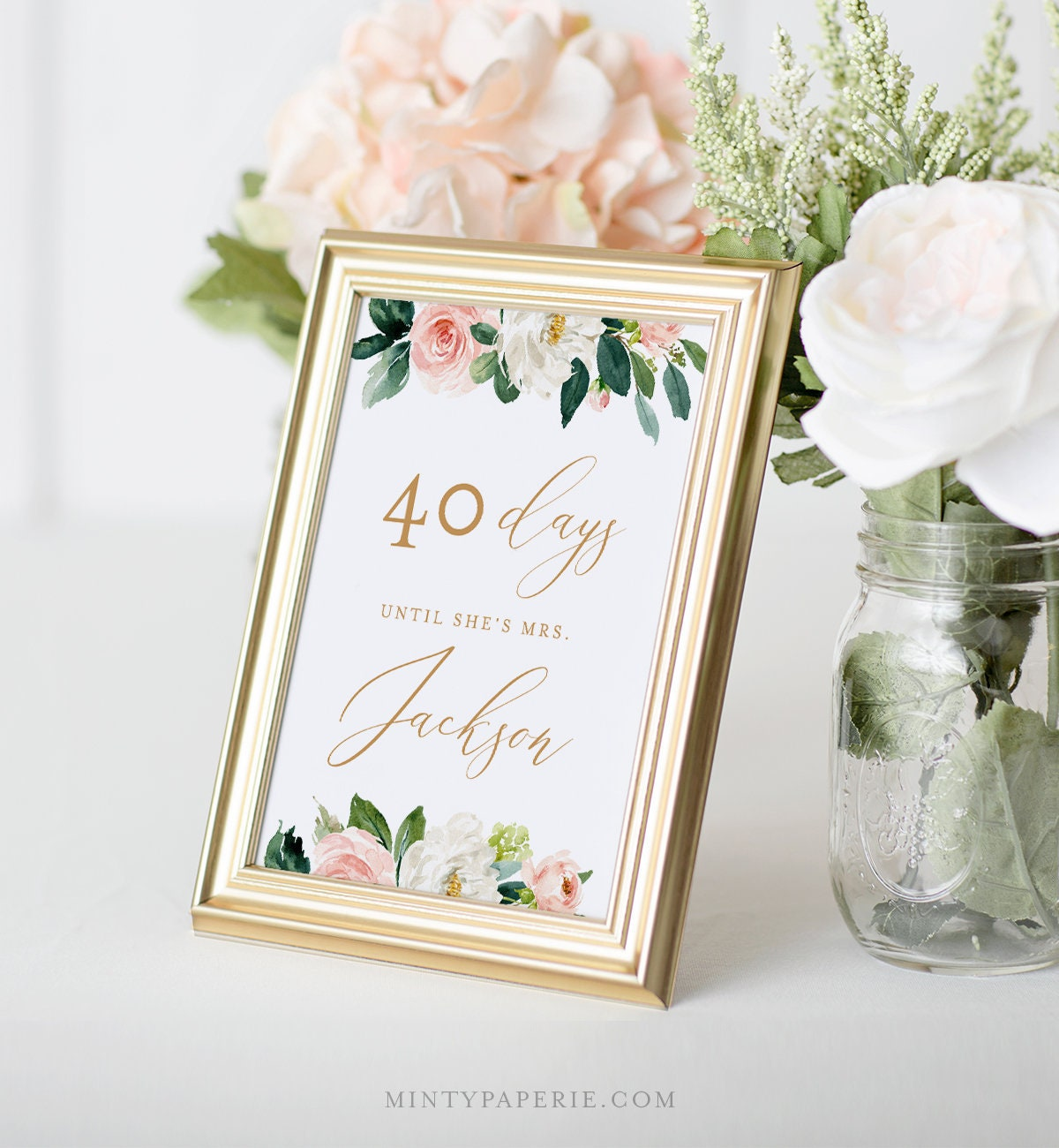 bridal shower countdown sign template days until i do sign instant download 100 editable text printable diy 5x7 8x10 043 102bss