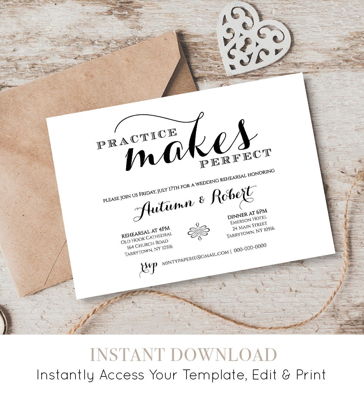 Wedding Rehearsal Dinner Invitation Template, INSTANT DOWNLOAD ...