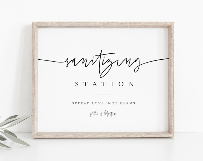 Sanitizing Station Sign, Printable Covid Wedding Sign, Hand Sanitizer Sign, Editable Text, Instant Download, Templett, 8x10 #0009-10S