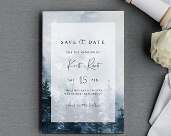 Winter Save the Date Template, Rustic Evergreen Pine Wedding Date Printable, Editable Text, Instant Download, Templett, 4x6 #070-168SD