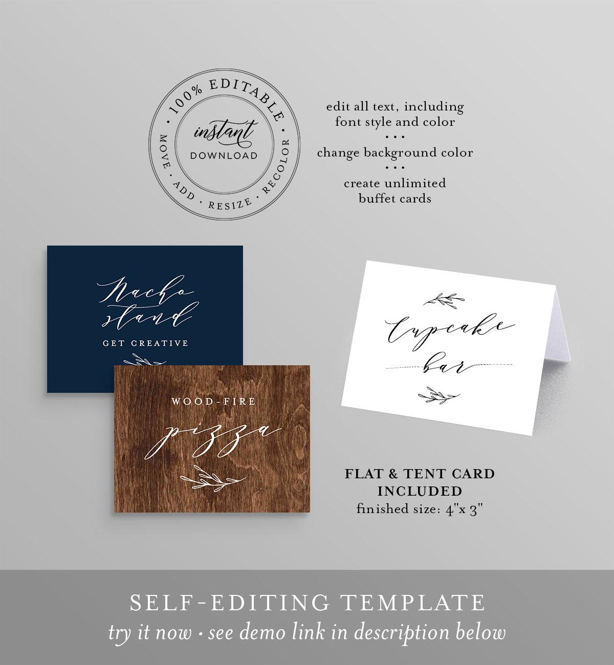 buffet card template food label wedding buffet printable
