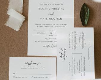 Minimalist Wedding Invitation Set, Modern, Simple, Elegant, Editable Template, Invite, RSVP, Details, Instant Download, Templett #0023A