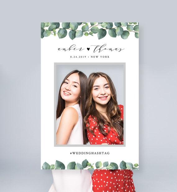 Eucalyptus Photo Prop Frame, Social Media Frame, Wedding, Bridal Shower, Birthday, Editable Template, INSTANT DOWNLOAD, Templett #036-105PP