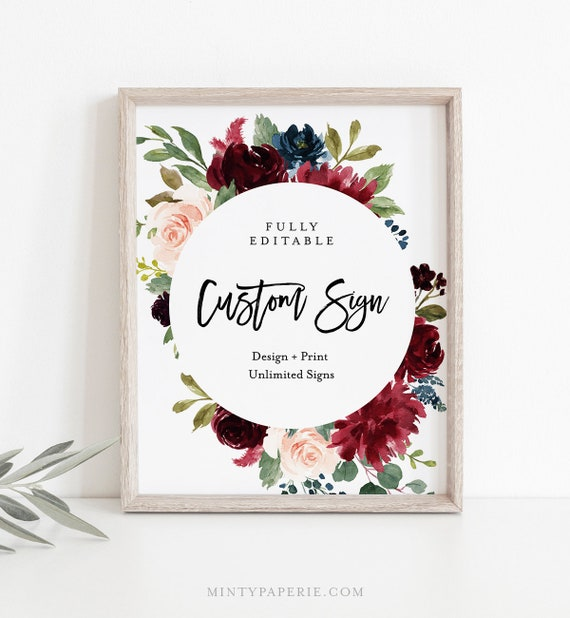 Unlimited Wedding Signs, Custom Sign Template, Boho Burgundy Florals, INSTANT DOWNLOAD, 100% Editable Text, Printable, 5x7, 8x10 #062-123CS