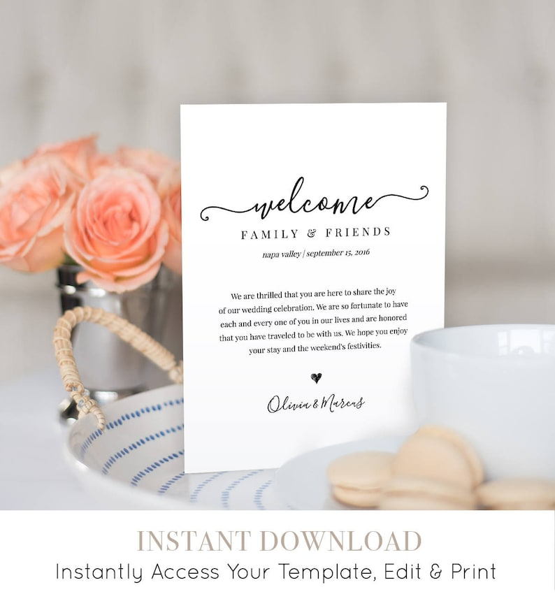 Wedding Welcome Bag Note Welcome Bag Letter Printable image 1