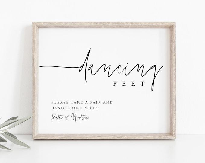Flip Flop Sign, Wedding Dancing Feet Sign, Dance Floor Sign, Printable Flip Flop Favor, Instant Download, Templett, 8x10 #0009-37S