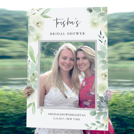 Bridal Shower Photo Prop Frame, Wedding Social Media Frame, Editable Template, Succulent Greenery, INSTANT DOWNLOAD, Templett #075-104PP