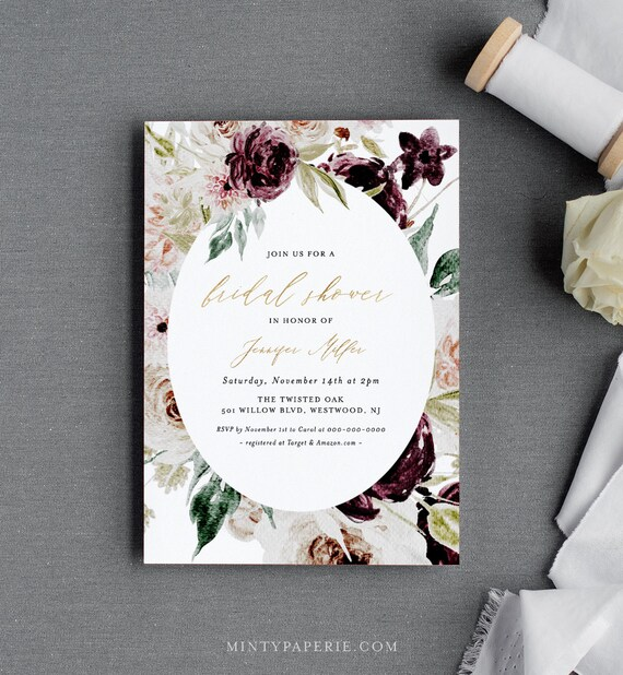 Moody Floral Bridal Shower Invitation Template, Printable Burgundy Wedding Shower Invite 100% Editable Text, Instant Download #074-207BS