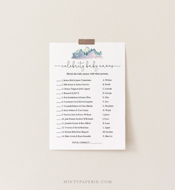 Celebrity Baby Name Game, Printable Baby Shower Game, Baby Name Game, Winter Pine Mountain, Editable Template, INSTANT DOWNLOAD #063-128BASG