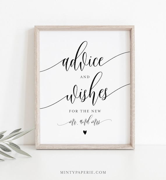 Advice & Wishes Sign and Card, Guest Book Printable, Well Wishes, Editable, INSTANT DOWNLOAD, Templett, 8x10 Sign, 3.5x5 Card #008-07S
