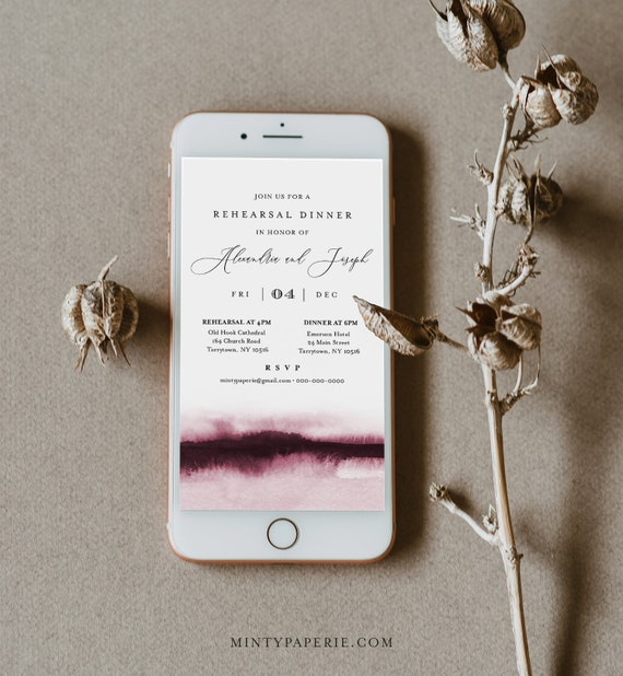 Watercolor Digital Rehearsal Dinner Invite, Wedding Electronic Invitation, Evite, Text Message, Templett Instant Download #093B-104RDD