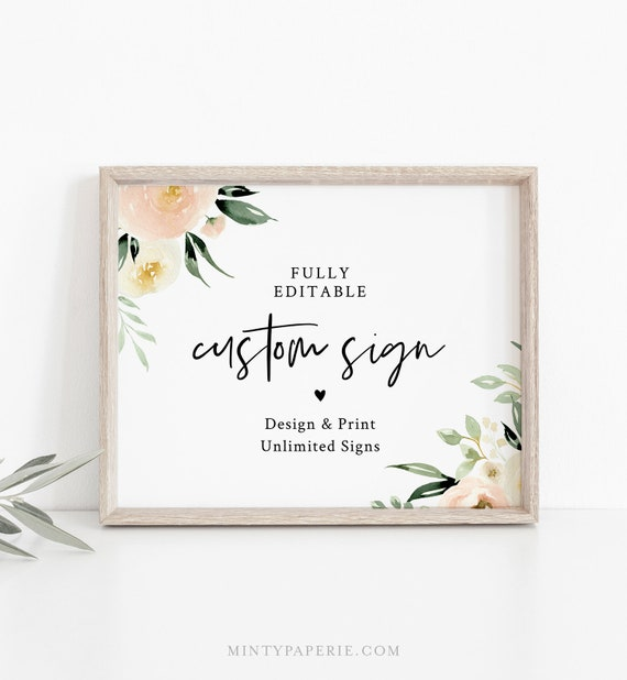 Greenery Custom Sign Template, Wedding or Bridal Shower Table Top Sign, Create Any Sign, INSTANT DOWNLOAD, Templett, 5x7, 8x10 #076-131CS