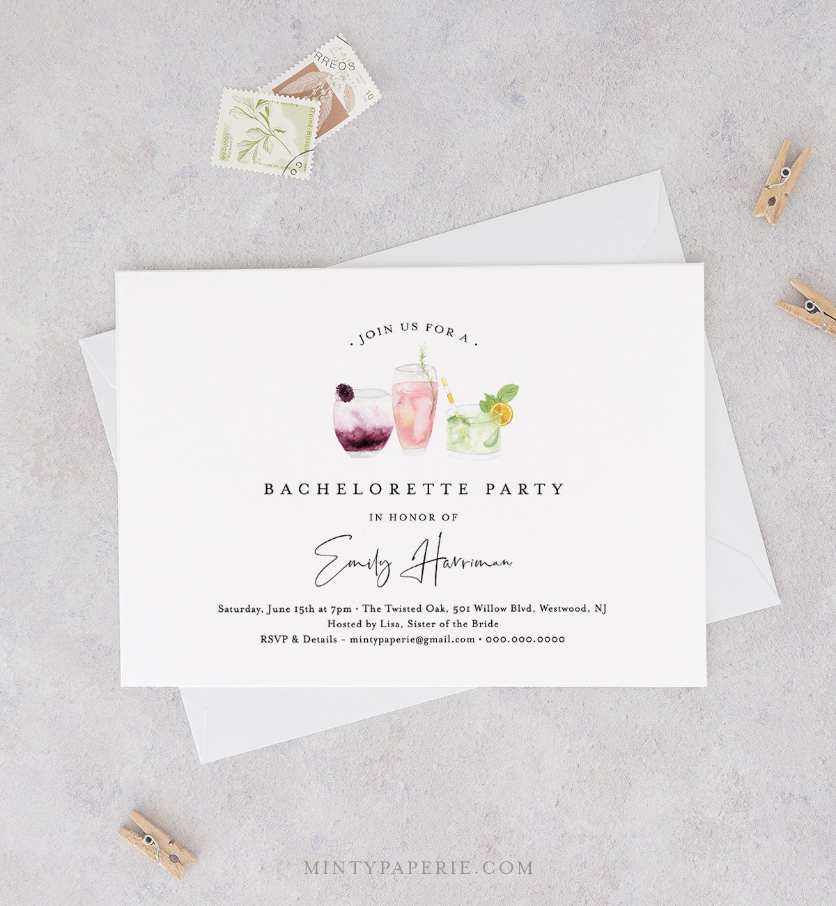 Printable Bachelorette Party Invitation Template Instant Download
