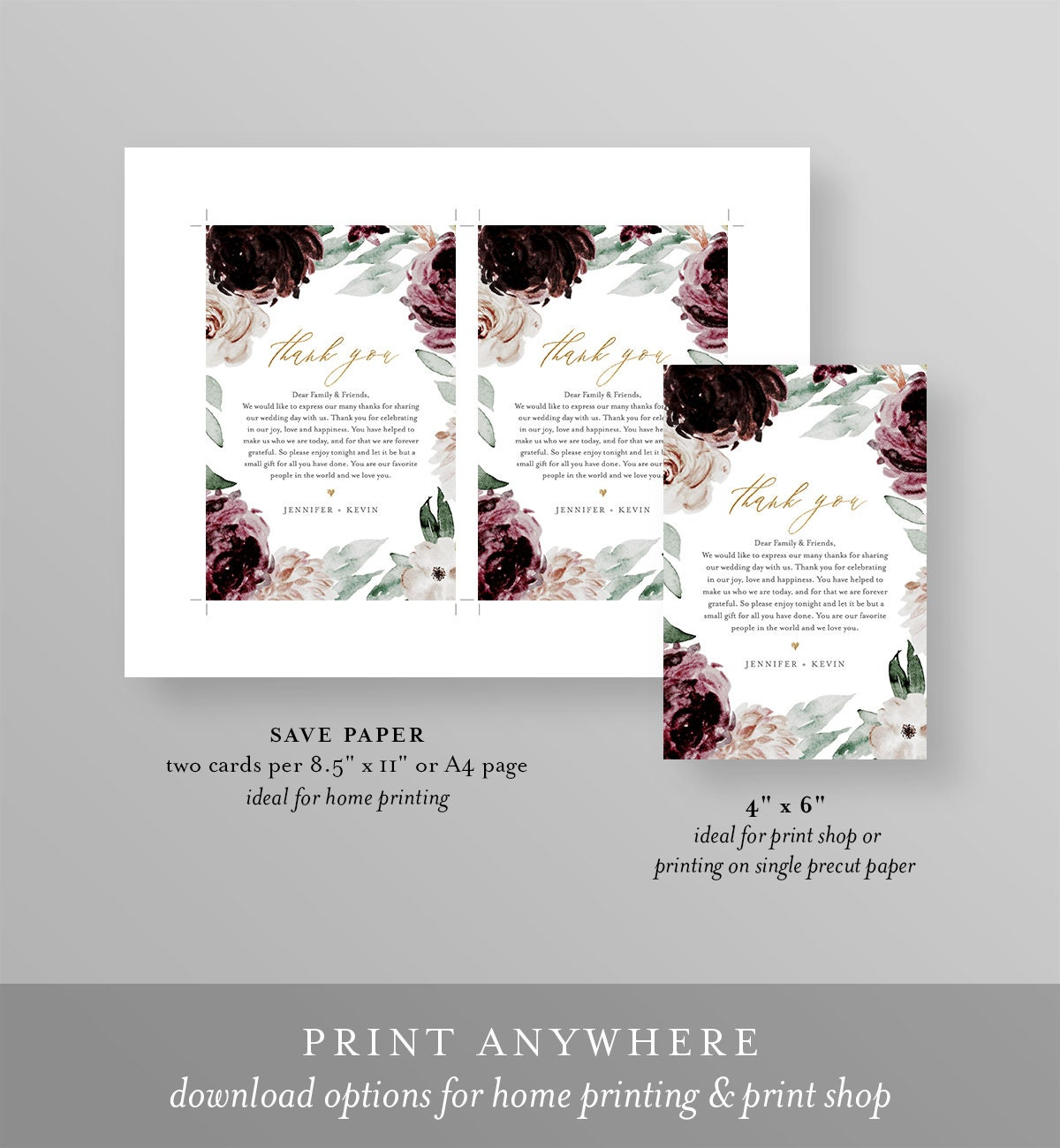 Thank You Letter Wedding Napkin Note In Lieu Of Favor Card Template Wedding Reception Card Moody Burgundy Instant Download 074 112tyn