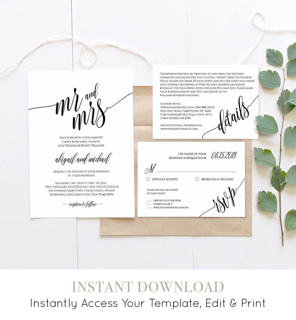Modern Wedding Invite Wording: Wedding Invitation Template, Instant Download, Rustic