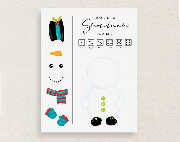 Roll a Snowman Game, Christmas Party Game Printable, Kids Dice Game, Build a Snowman Game, Holiday Party, Instant Download, Templett #111CG