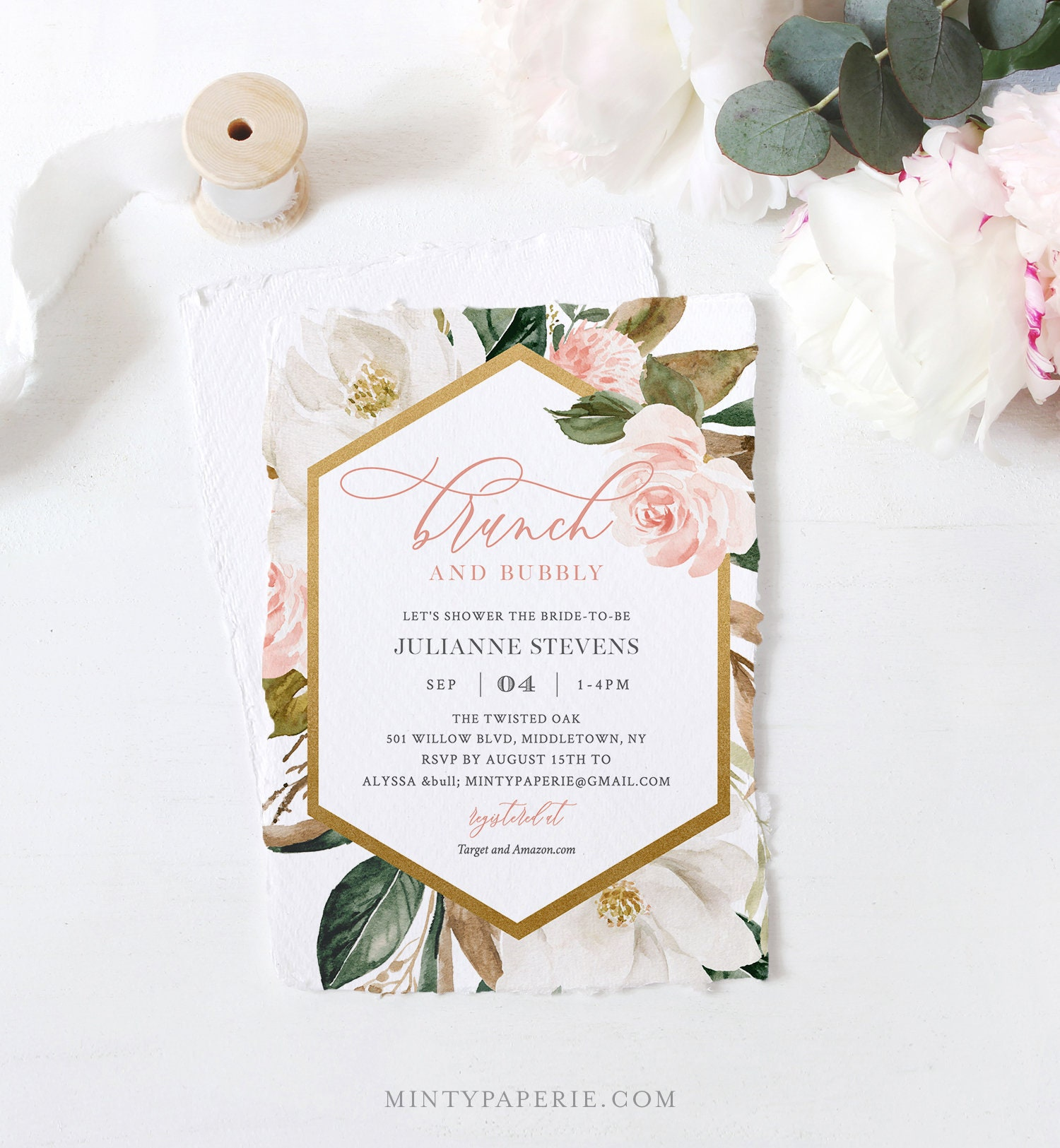 Bridal Shower Invitation Template Brunch And Bubbly Printable