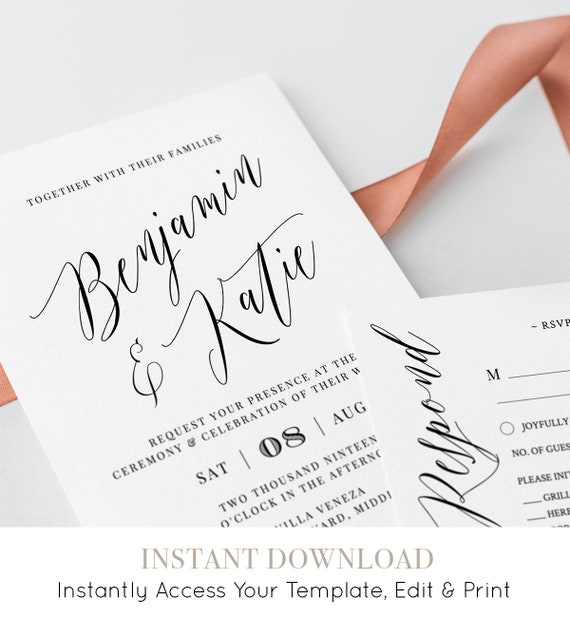 Printable Wedding Invitation Suite 100% Editable Template | Etsy